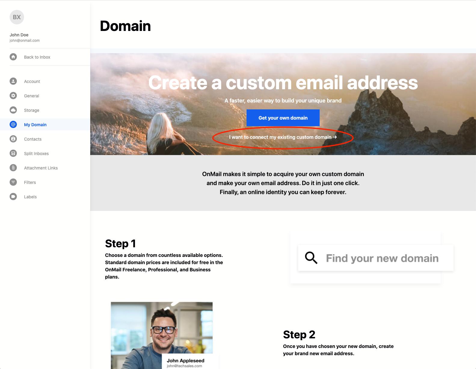 Custom Domain Guide \u2013 OnMail